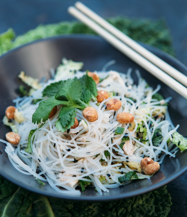 Rice Noodles With Chicken And Fresh Herbs